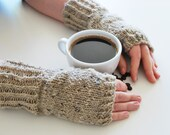 hand knit fingerless gloves - the coffee break hand knit fingerless mittens in tweed beige- mix of wool and angora