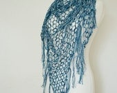 crochet triangle shawl in mix of white blue navy lace light summer shawl  - mix of viscose,linen and acrylic