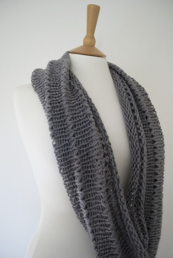 CLEARANCE SALE - The Achird Hand Knit Circular Scarf/Cowl/Wrap in Grey