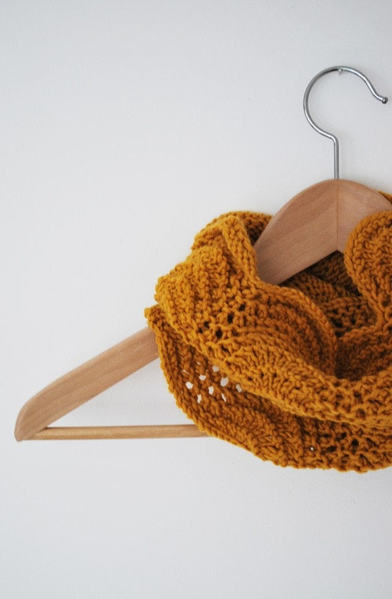 25% OFF SALE yellow mustard cowl neckwarmer tube knitted lace warmer  for her handmade, the grafias line - merino wool