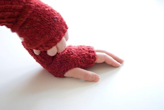 hand knit fingerless gloves - the coffee break hand knit fingerless mittens in tweed red - mix of wool and angora