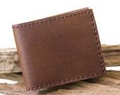 Hand Sewn Men's Leather Wallet in Dark Brown