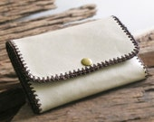 Sale.. Handmade Leather Wallet in Light Green Cream