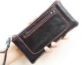 SALE, Zipper Leather Wristlet Pouch in Black