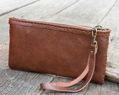 Zipper Leather Pouch with Wristlet Strap in Red Brown