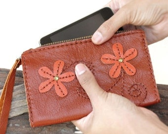 SALE, Hand Stitched Zippered Leather Wristlet Pouch in Orange