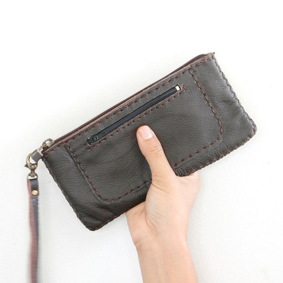 Top Zipper Genuine Leather Pouch in Dark Brown