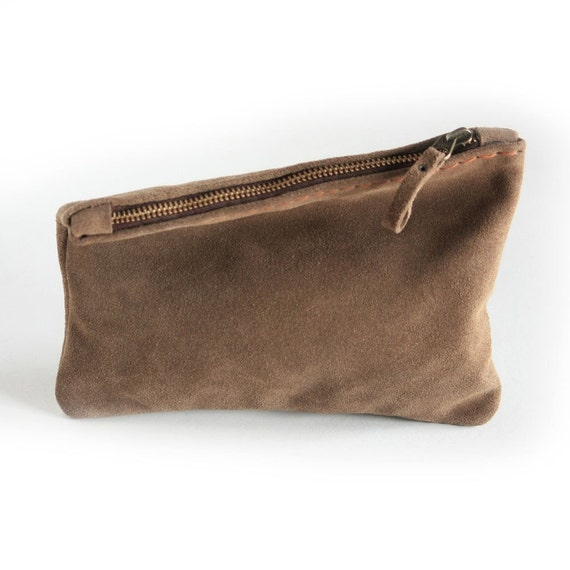 Hand Stitched Zipper Leather Suede Pouch in Brown