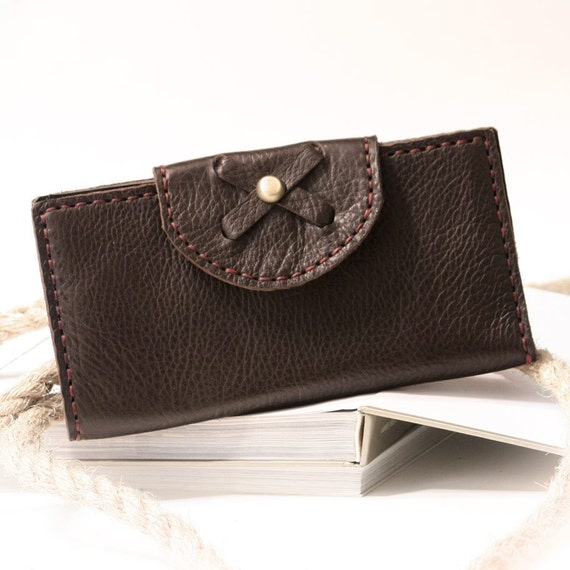 SALE, Hand Stitched Leather Clutch Wallet in Dark Brown