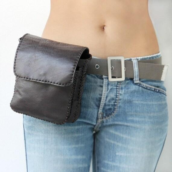 Hand Stitched Leather Belt Bag/ Camera Bag in Dark Brown