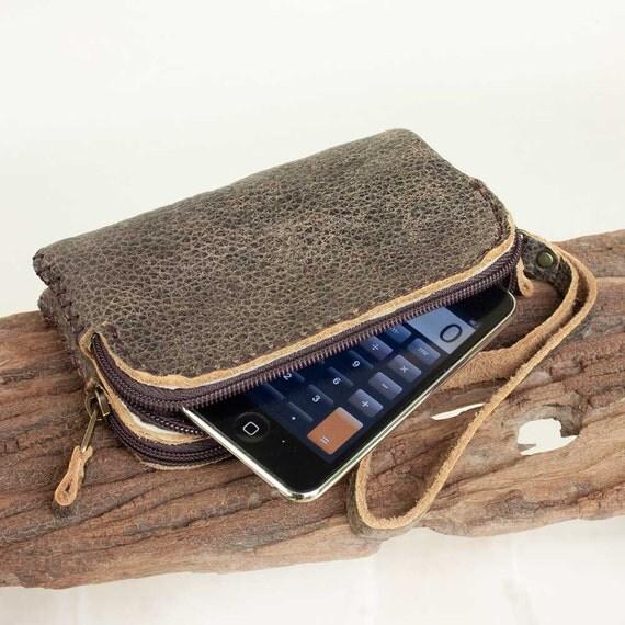 Zipper Leather Wristlet Gadget Pouch- L size