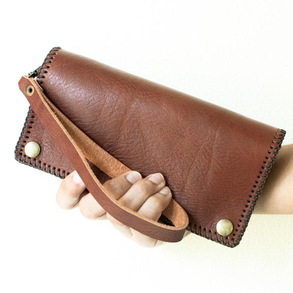 Cyber Monday, Hand Sewn Leather Wallet with Wristlet in Brown