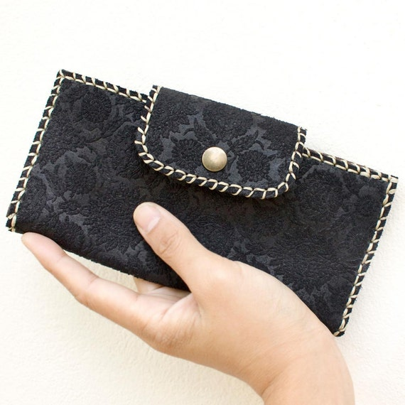 SALE 30% off, Leather Wallet in Black with Floral Print Embossed, COUPON CODE: PM27091330