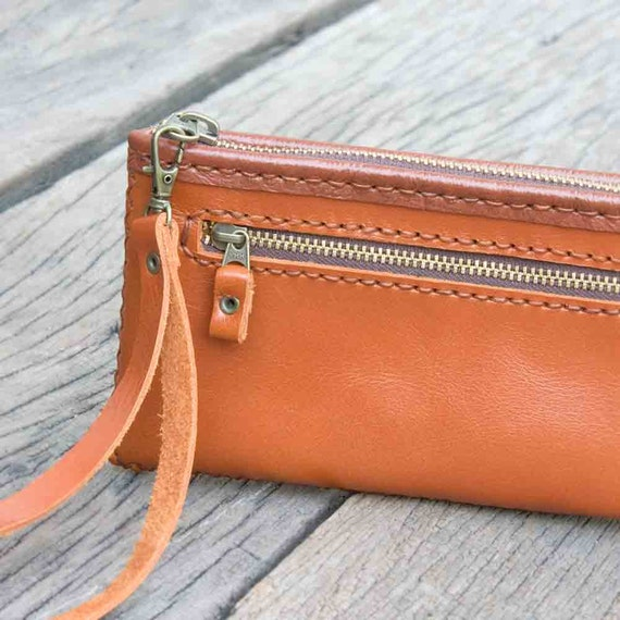 Zipper Leather Pouch with Wristlet Strap in Orange