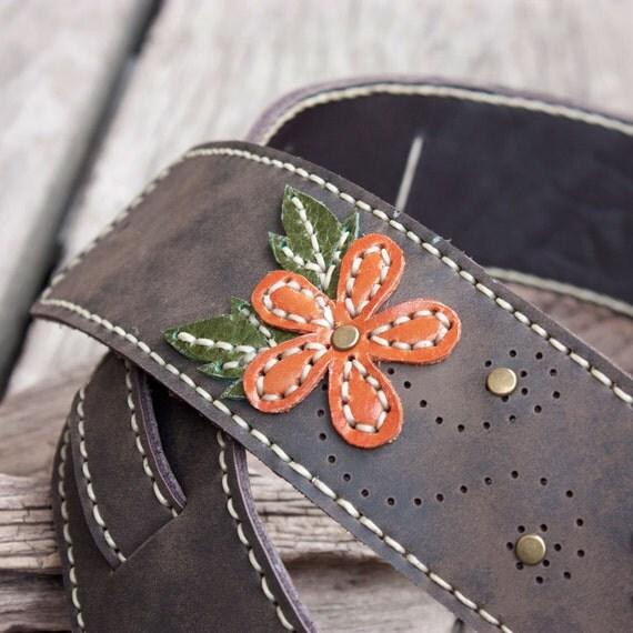 Hand Sewn Leather Guitar Strap in Dark Brown with Embroidered Orange Flower