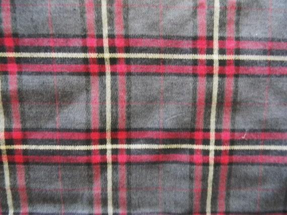 Tartan Plaid Fabric Wool Blend Red Charcoal Gray Black - BTY - yards