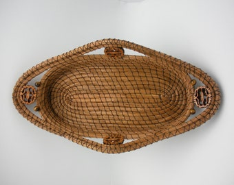 Pine needle basket with sliced walnut and tigereye beads