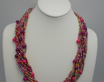Glass beads necklace, multicolor, with toggle clasp for Mother's Day, any occasion