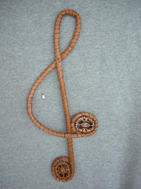 longleaf pine needle  music G-clef with freshwater pearl