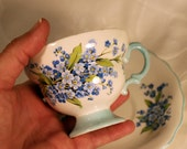 Vintage Rosina Blue Flower Teacup and Saucer