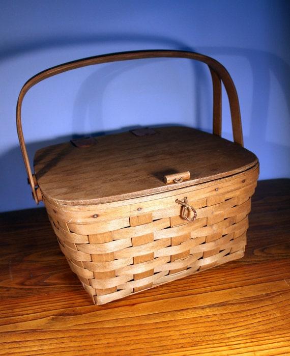 Vintage Wooden Picnic Basket for Two