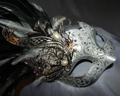 Black, White and Silver Feather Masquerade Mask