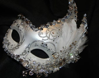 White and Silver Venetian Feather Mask - Made to Order