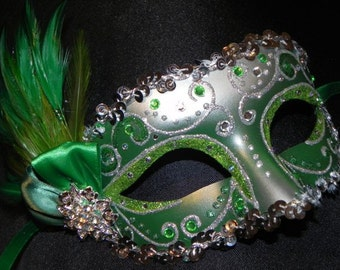 Emerald Green and Silver Feather Masquerade Mask - Made to Order