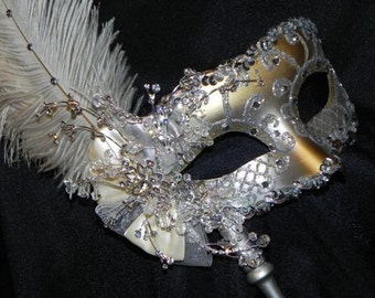 Silver Glam Venetian Masquerade Feather Mask - Made to Order