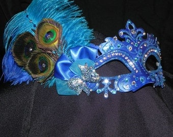Peacock Capri Mask in Shades of Blue and Silver