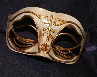Black, Gold and Antique Ivory Men's Venetian Mask