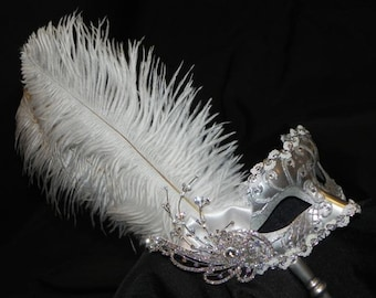 White and Silver Venetian Masquerade Bridal Mask