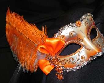 Bright Orange and Silver Venetian Feather Mask - Made to Order