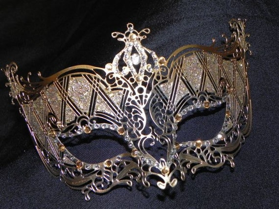 Gold and Silver Metallic Masquerade Mask