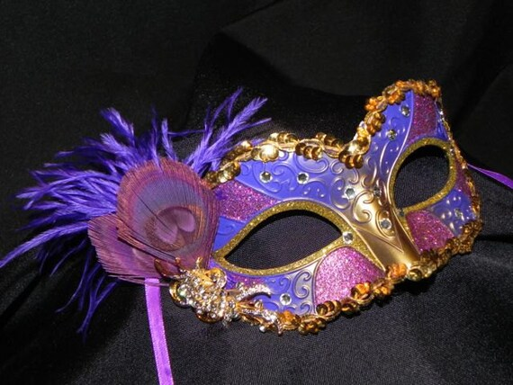 Shades of Purple and Gold Masquerade Mask