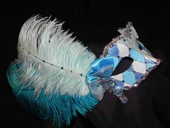 Harlequin Masquerade Mask in Light Blue and Turquoise