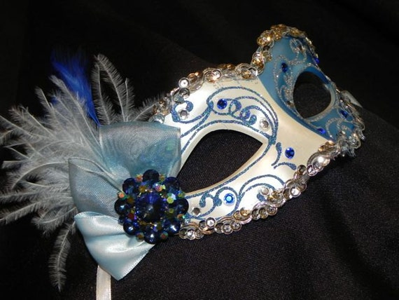 Masquerade Mask in Shades of Blue, White and Silver