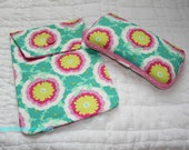 Boutique Style Travel Wipes Case and Diaper  Holder Set - Amy Butler - Joy Buttercups Spearmint - Ready to Ship