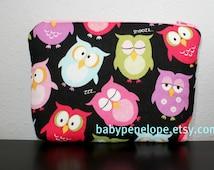 Paded Cosmetic Bag/ Gadget Case - Sleeping Owls