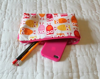 Clearance*** Pencil Case/Cosmetic Bag - Back to School - Owls coametic bag - Owls pencil case - small cosmetic bag-Ready to Ship