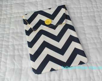 Diaper and Wipes Case Holder - Chevron - Navy and Yellow