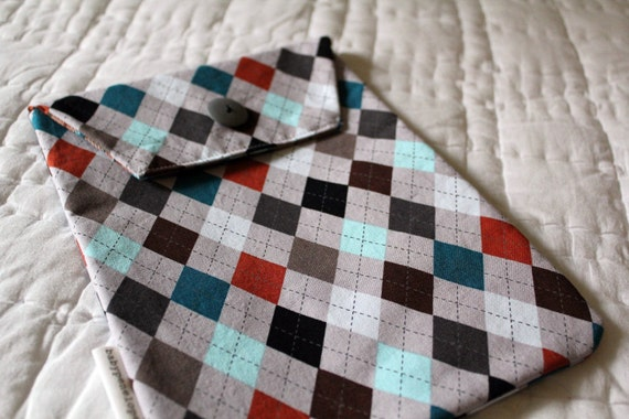 Diaper and Wipes Case Holder - Gray Argyle