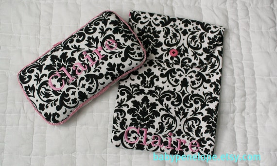 Personalized Boutique Style Travel Wipes Case  and Diaper  Holder Set  -  Black Damask