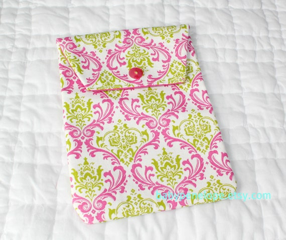 Diaper and Wipes Case Holder -  Damask - Pink and Green