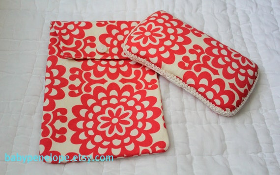 Boutique Style Travel Wipes Case and Diaper  Holder Set - Amy Butler- Wall Flower - Cherry