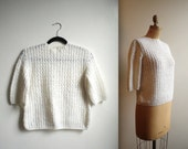 Vintage Handmade Scalloped LACY CROCHET White Semi-Sheer Box Sweater Blouse (s - m)