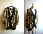 1980s designer SILK black & gold abstract print COCOON batwing duster overcoat jacket (all sizes)