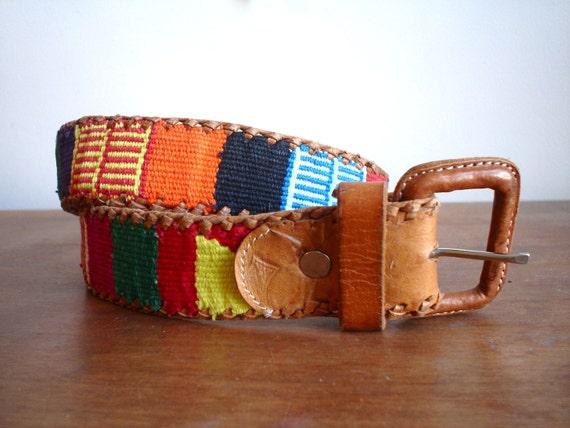 Guatemalan Ethnic IKAT Leather Belt