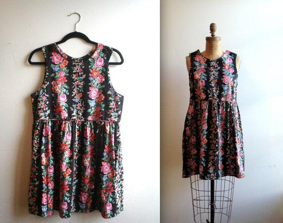 sweet lady / FLORAL babydoll Shift Dress (s - m )