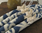 Padded Hangers, Indigo and Natural Woven Pattern with Organic Taffeta Ribbon Accent (Set of 4)